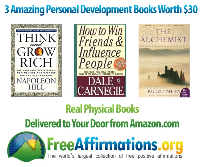 Image of the 3 personal development books to giveaway.