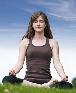 A girl meditating with strong posture