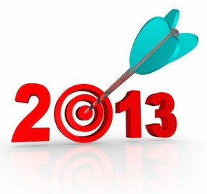 an arrow shooting into the year 2013 text