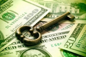 Picture of a key and some money