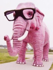 A pink elephant wearing glasses